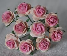 1 cm PALE PINK PINK CENTER Mulberry Paper Roses
